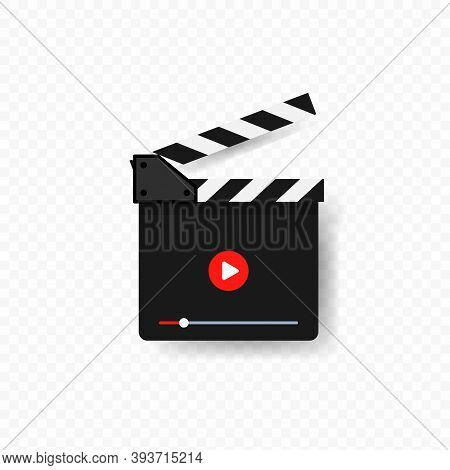 Clap Board For Cinema With Play Button. Film Slate. Film Production Concept. Start Watch Or Play Vid