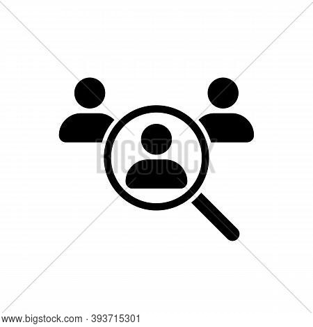 We Are Hiring. Search Job Vacancy Icon. Staff Selection. Magnifying Glass Looking For People Icon, E