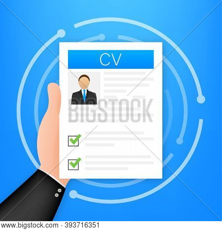 Cv Resume. Job Interview Concept. Writing A Resume. Laptop With Personal Resume. Vector Illustration