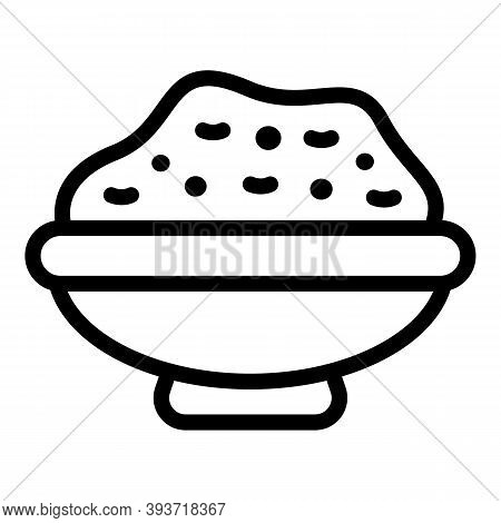 Porridge Bowl Icon. Outline Porridge Bowl Vector Icon For Web Design Isolated On White Background
