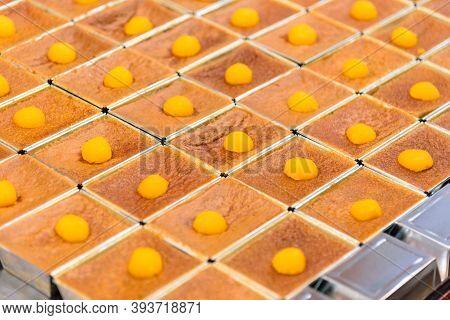 Closeup To Egg Custard With Mung Bean Flour