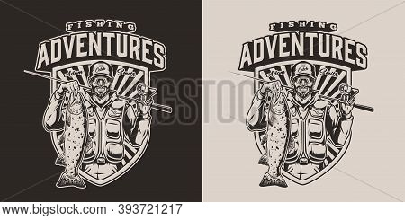 Fishing Vintage Logotype With Inscription Happy Bearded Angler Holding Fishing Rod And Trout In Mono