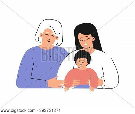 Vector Isolated Concept For Mother's Day With Flat Cartoon Characters. Happy Family Is Smiling. Hand