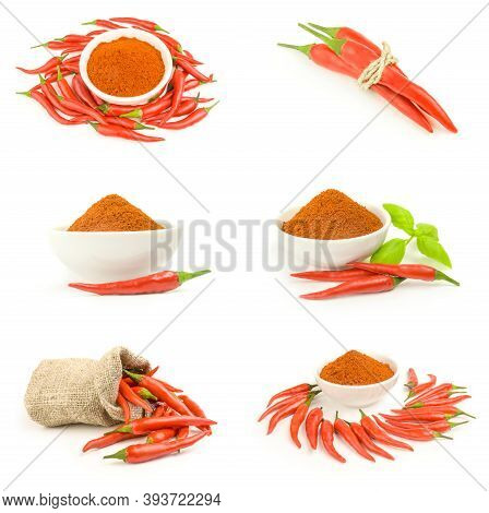 Group Of Long Fed Pepper On A White Background Cutout