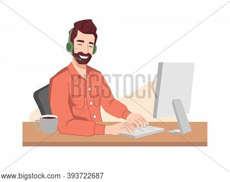 Guy Operator Smiles In Headphones And Microphone Typing On Keyboard. Vector Online Call Center Worke