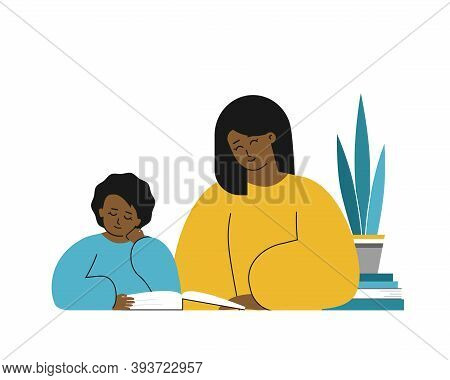Vector Isolated Flat Concept. African American Mother And Clever Daughter Learn Alphabet, Read Book