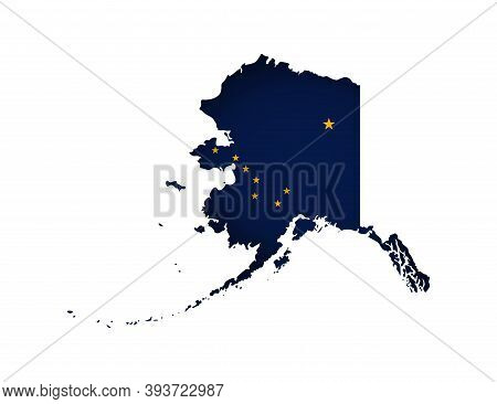 Vector Isolated Illustration With Flag And Simplified Map Of Alaska (state Of Usa). Volume Shadow On