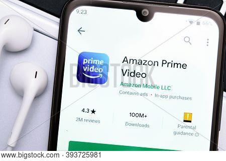 Krakow, Poland - November 08, 2020: Amazon Prime Video Application  In Google Play Store. Amazon Pri