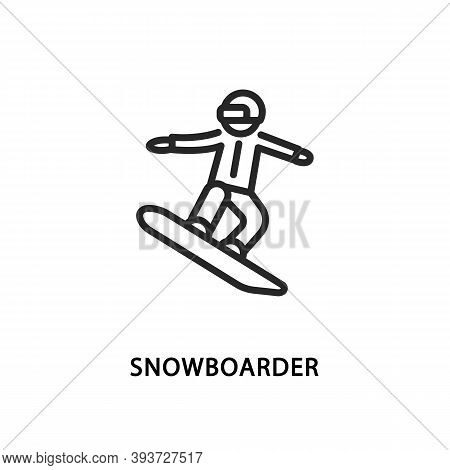 Snowboarder Flat Line Icon. Vector Illustration A Person Who Jumping Through Air