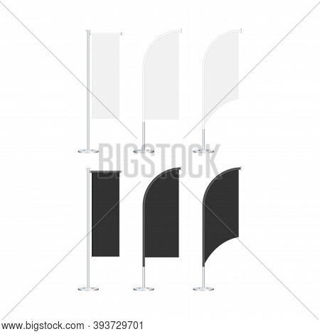 Beach Flag Stand Empty Template Mockup Set On A Grey. Vector Stock Illustration.