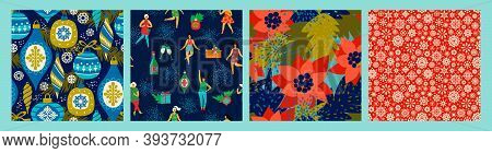 Christmas Seamless Patterns With Dancing Women And New Year Symbols. Vector.