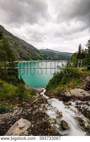 Lac De Tseuzier, Valais, Switzerland At Cloudy Weather