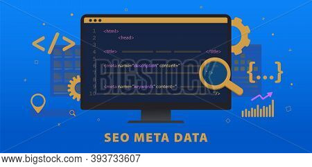 Seo Meta Data, Http Website Header Tag Optimization. Search Engine Optimization Title Tags And Meta