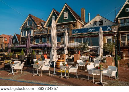 Urk Netherlands October 2020, Tourist Harbour With Sailing Boats Small Town Of Urk Village With The