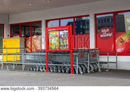 Passau / Germany - November 8, 2020: Penny Branch. Penny Is A German Discount Supermarket Chain Owne