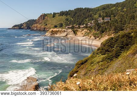 Oregon Coast Landscape Overlook In The Pacific Northwest, Usa