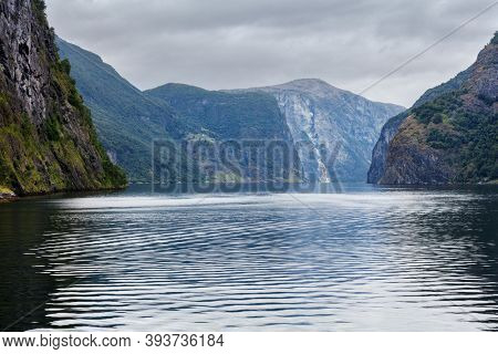 view of the fjord in cloudy weather, Norway