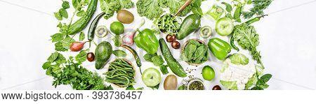 Variety Of Green Vegetables And Fruits. Healthy Food Clean Eating: Vegetable, Seeds, Superfood, Leaf