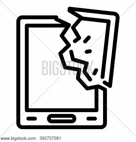 Crashed Tablet Icon. Outline Crashed Tablet Vector Icon For Web Design Isolated On White Background
