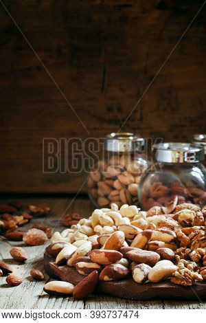 Brazilian Nut, Nut Mix, Vintage Wooden Background, Selective Focus