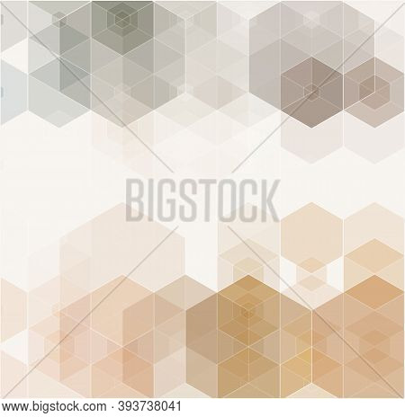 Geometric Background. Abstract Business Vector Design Background Element. Beige And Gray Hexagons.