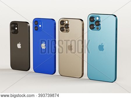 Italy -01 November, 2020: Iphone 12, 12 Mini, 12 Pro And 12 Max Smartphones On White Background. Lat
