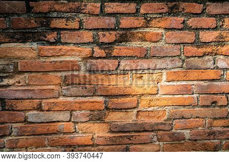 Vintage And Aging Red Brick Wall Texture And Background.