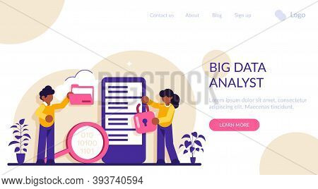 Data Analytics Manage. Database Developer And Administrator Working. Big Data Job, Database Develope