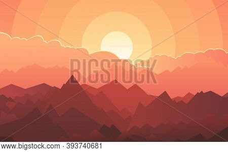 Gentle Sunset Overlooking Mountains With Bright Clouds. Modern Vector Landscape. Beauty Of Nature.