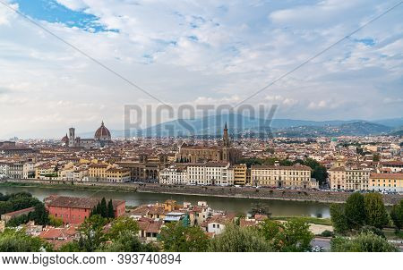 Florence Old City Skyline With Cathedral Of Santa Maria Del Fiore In Florence, Tuscany, Italy