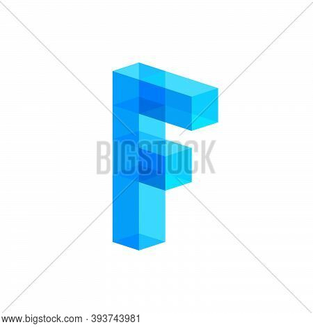F Letter Consist Of Blue Ice Cubes. Frozen Logo. Logo Can Used For Frozen Food, Ice Rink. Geometry L
