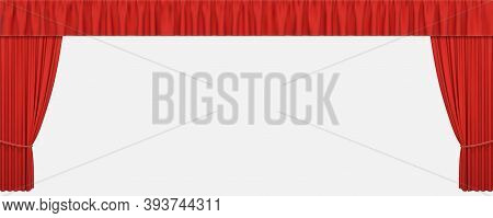 Red Stage Curtains Isolated On White Background