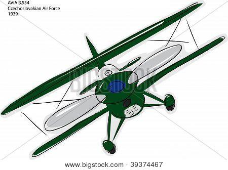 Avia B.534 Biplane Sketch