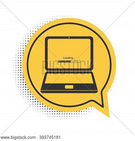 Black Laptop Update Process With Loading Bar Icon Isolated On White Background. System Software Upda