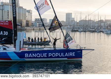 Les Sables D'olonne, France - November 08, 2020: Clarisse Cremer Boat (banque Populaire X) In The Ch