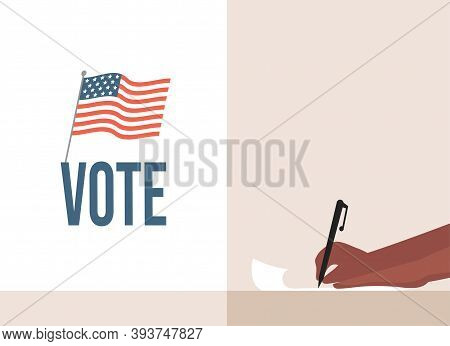 Vote Flat Banner Concept. Hand Holding Pen, Fill Casting Ballots, Voting, And Choosing Candidates Ve