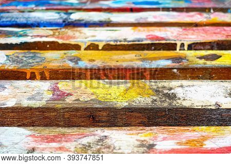 Multi Colored Watercolor Paint On Old Wood Skin Wood Natural Wood Natural  Texture And Background