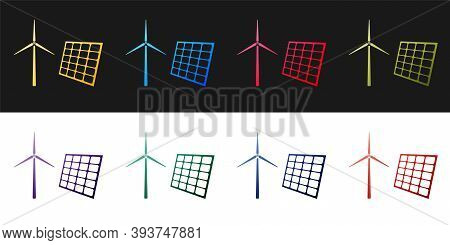 Set Wind Mill Turbines Generating Electricity And Solar Panel Icon Isolated On Black And White Backg