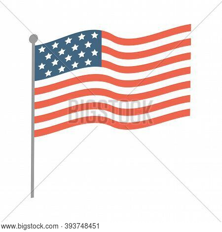 The Usa Waving Flag Vector Flat Illustration Isolated On White Background. American Flag. The Nation
