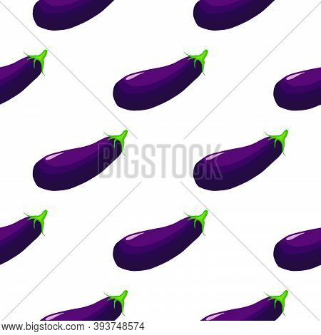 Illustration On Theme Of Pattern Eggplant, Vegetable Aubergine For Seal. Vegetable Pattern Consistin
