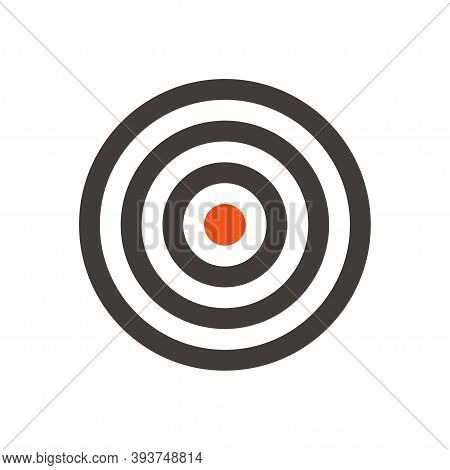 Target Vector Flat Design Icon. Dartboard With Red Dot In The Middle. Simple And Clear Symbol Of Aim