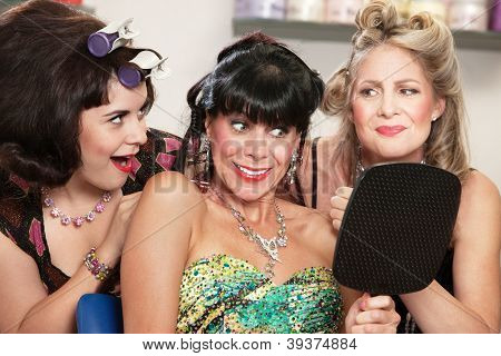Lady And Friends Happy With Haircut