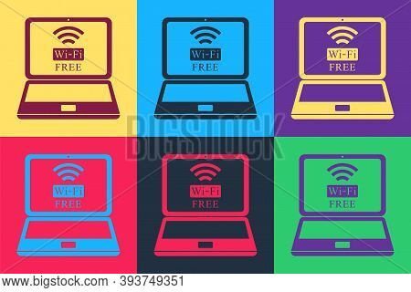 Pop Art Laptop And Free Wi-fi Wireless Connection Icon Isolated On Color Background. Wireless Techno