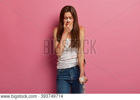 Traumatized Crying Woman Suffers From Physical And Mental Effect Of Accident, Has Post Traumatic Str
