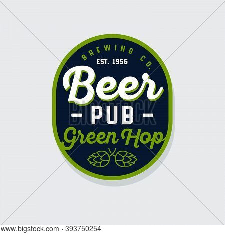 Beer Pub Logotype. Green Hop Cone Emblem. Composition From Beautiful Letters, Green Hop Cones On Rou