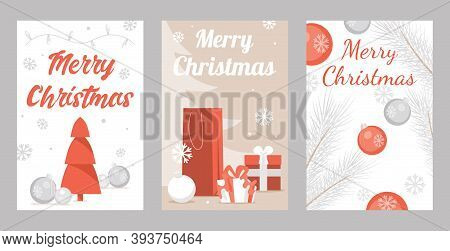Set Of Merry Christmas Greeting Cards. Happy New Year And Merry Christmas Vector Flat Illustration.