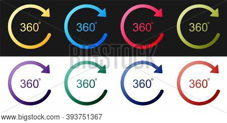 Set Angle 360 Degrees Icon Isolated On Black And White Background. Rotation Of 360 Degrees. Geometry