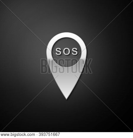 Silver Marker Location With Sos Icon Isolated On Black Background. Sos Call Location Marker. Map Poi