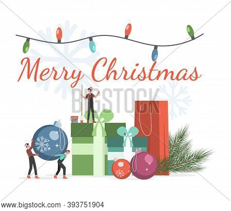 Merry Christmas Banner Template. Cute Little Elves Bring Christmas Tree Balls And Painting For The C