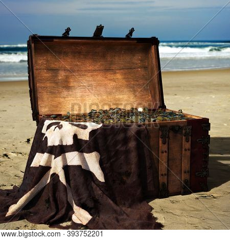 Pirate Chest On The Beach Filled With Gold Coins . 3d Rendering